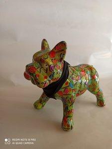 Franse Bulldog - Groen met figuurtjes
