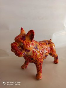 Franse Bulldog - Oranje met figuurtjes