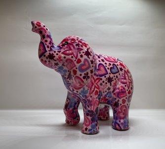 Pomme pidou olifant Zara roze met hartjes en vlinders