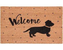Clayre & Eef Deurmat teckel/hond tekst welcome 75x45x1cm